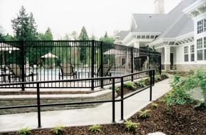 Durarail powder coated aluminum railing as fencing around pool