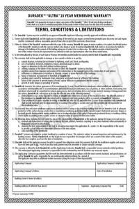Duradek Warranty Page 1