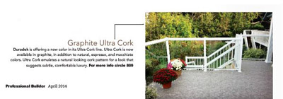 Duradek's Ultra Cork Graphite as seen in Professional Builder Magazine.