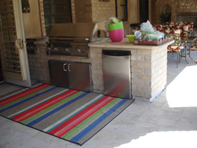 An outdoor kitchen with the waterproofing of Tiledek as it's foundation.