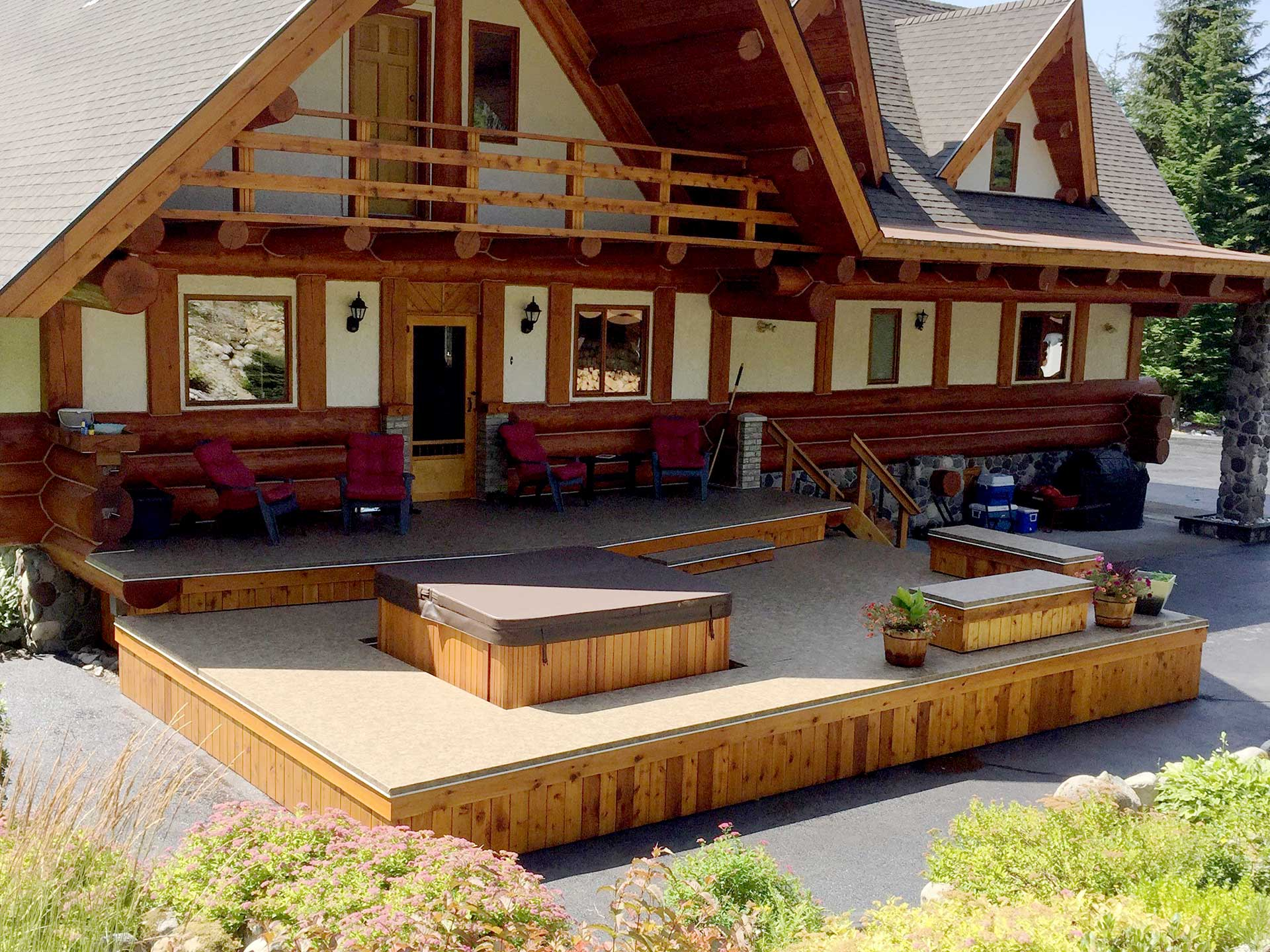 pergola and with deck tub surround lazy modern insulated iroko pin spa hardwood hot