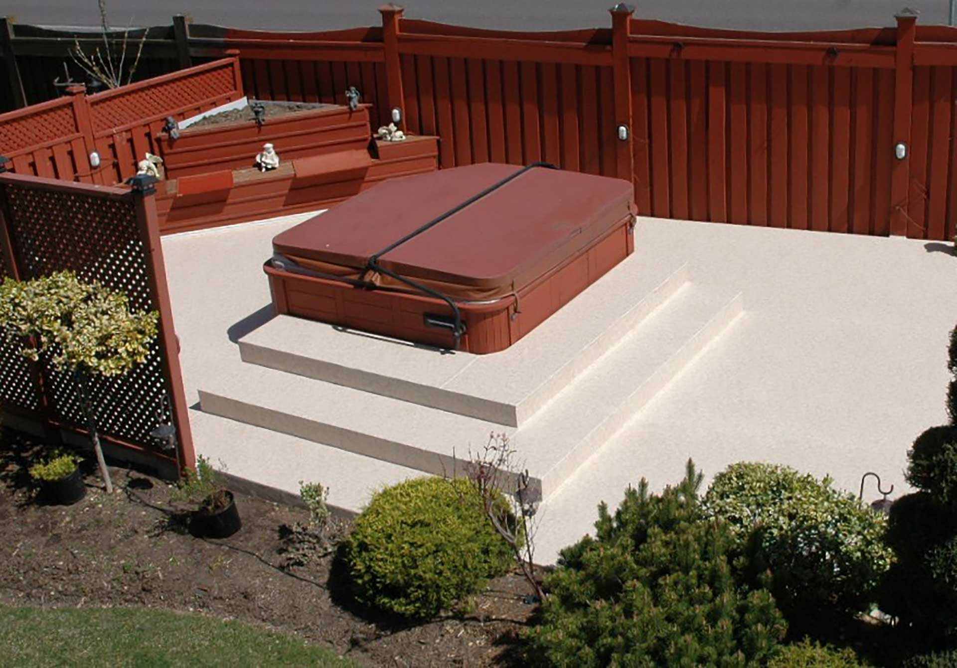 gallery hottub surrounds duradek deck hot tubs vinyl with images tub pool decking
