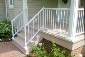 Duradek Heritage Sunrise Waterproof Vinyl on Front Porch with Porch Railing