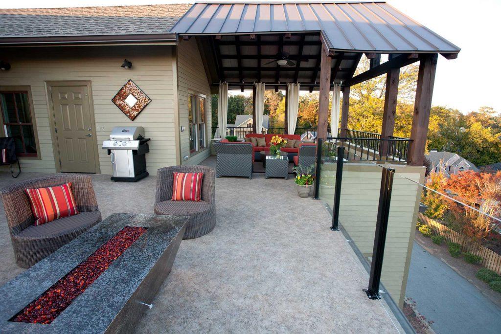 Duradek Cork Espresso Rooftop Deck and Topless Glass Railing