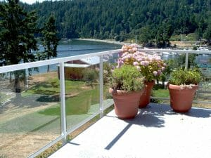 Standard Glass Railing with Square White Top Rail and Posts - Fascia Mounted