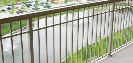 Beige Aluminum Picket Railing on a Balcony - Durarail