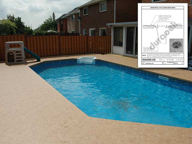 Pool Surround Surfaced with Duradek Waterproof Vinyl Membrane