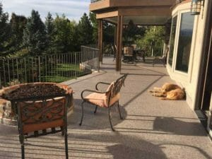 Dog relaxing on Duradek Ultra Heritage Sienna Vinyl Deck