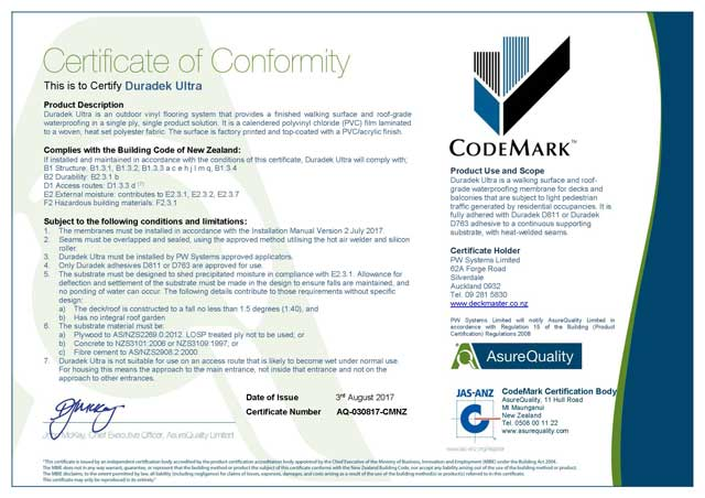 Codemark Certificate of Conformity for Duradek Vinyl Waterproofi Membranes