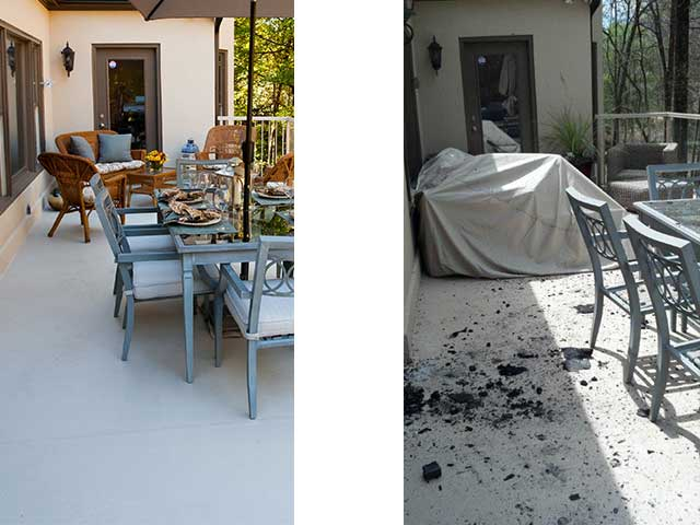 Deck before fire and after fire risk.