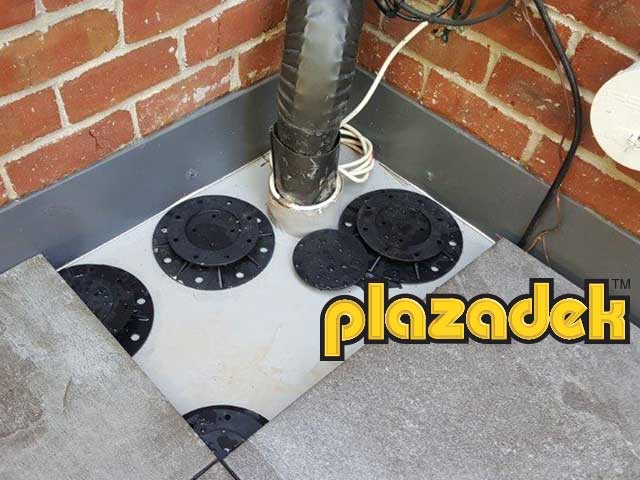 Plazadek membrane under concrete pavers
