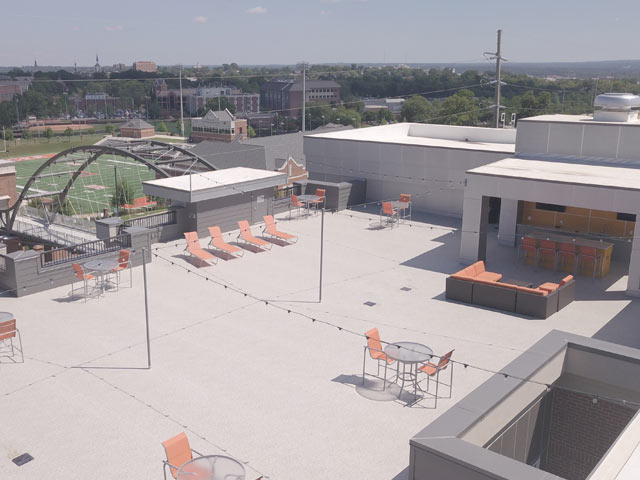 Low Maintenance Roof Deck at Mercer College Lofts | Duradek Vinyl Waterproof Membrane
