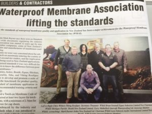 Clipping on Waterpoof Membrane Association Inc in New Zealand