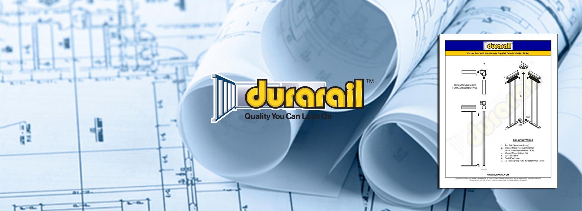 Aluminum Deck Railing BIM & CAD Drawings - Durarail - Duradek