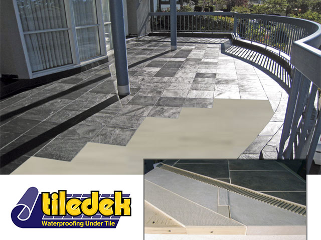 Tiledek cutout and assembly detail with logo