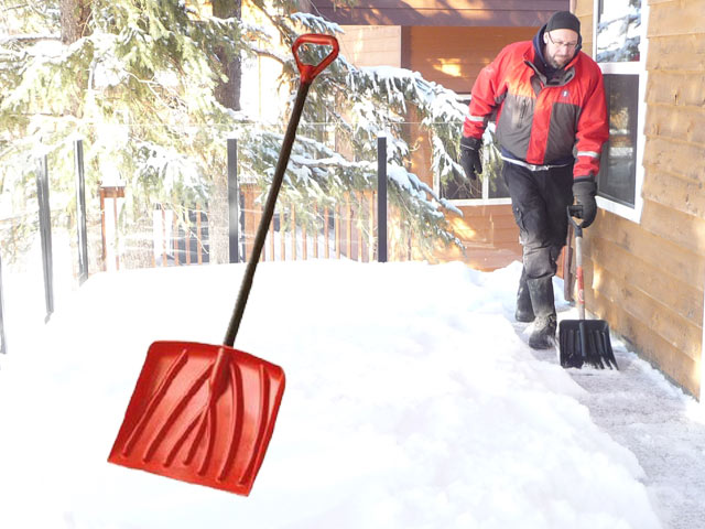 Plastic Snow Shovel to clear snow from Duradek vinyl deck