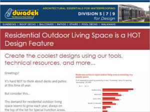 Duradek Architects enews - sign up for the latest on deck and flat roof building trends and information