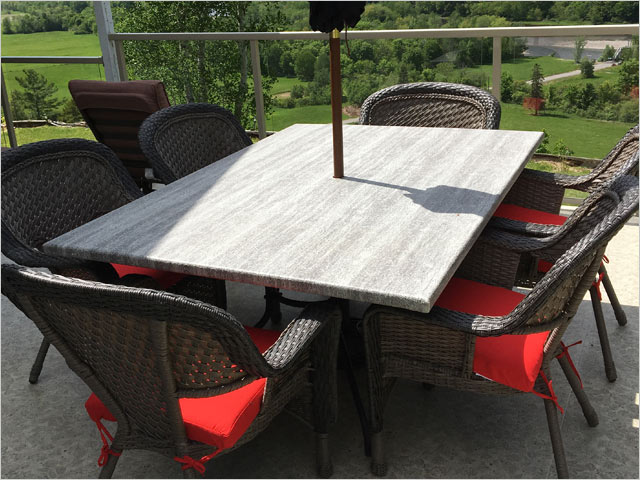 Deck Table Covered with Duradek Legacy Driftwood