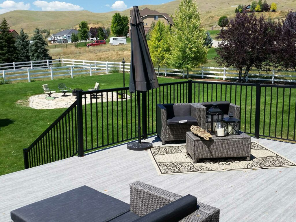 Utah Outdoor Living with Duradek Legacy Driftwood Vinyl Decking and Durarail Aluminum Railings