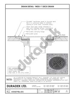 Duradek Detail Drawing DR-01 for Drains on Vinyl Decks