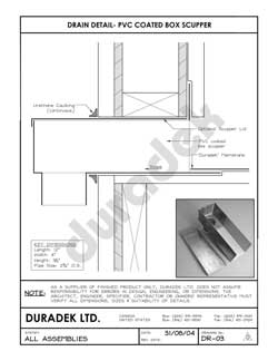 Duradek Detail Drawing DR-03 for Drains on Vinyl Decks