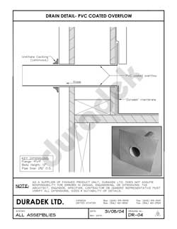 Duradek Detail Drawing DR-04 for Drains on Vinyl Decks