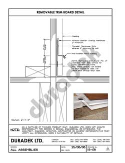 Duradek Detail Drawing IS-08 for Inside Perimeter on Vinyl Decks