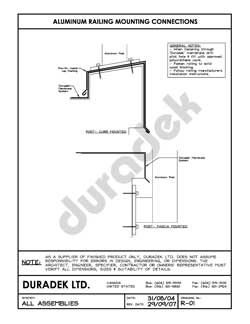 Duradek Detail Drawing R-01 for Railing Mounting on Vinyl Decks