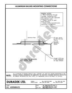 Duradek Detail Drawing R-03 for Railing Mounting on Vinyl Decks
