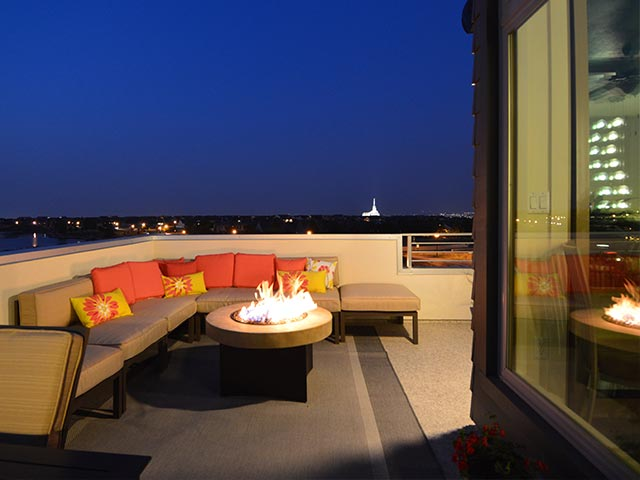 New Home Roof Deck at Night