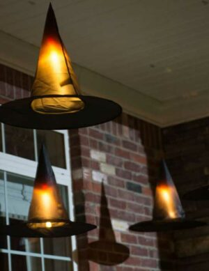 Front Porch Halloween Decorating with Witches Hats