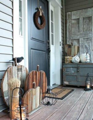 Front Porch Wood Pumpkins