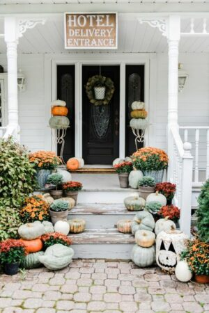Front Porch Halloween Pumpkins