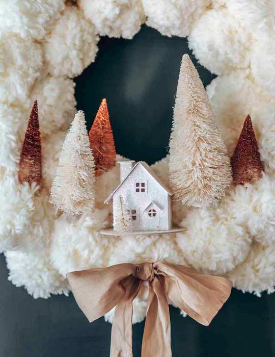 decorate front porch for Christmas with Pom Pom Wreath