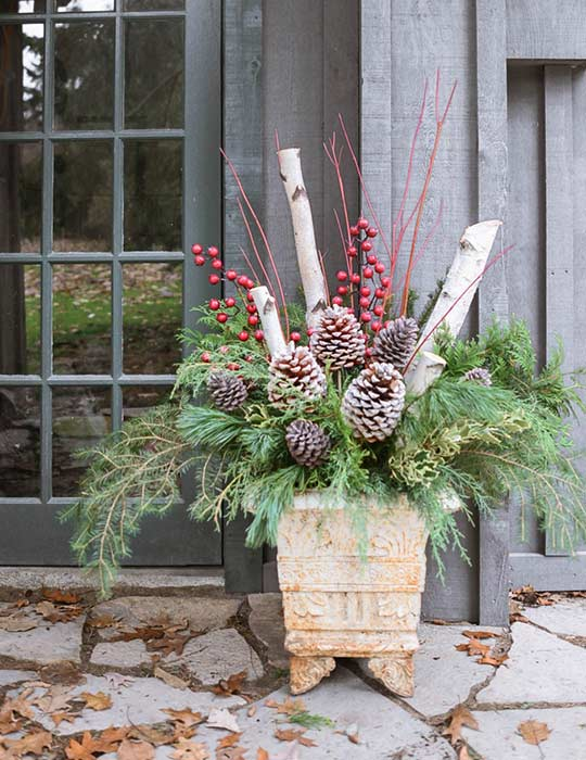 Decorate your porch for Christmas with planters