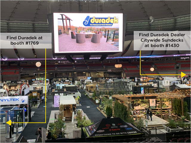 booth locations for Duradek BC Home & Garden Show 2020