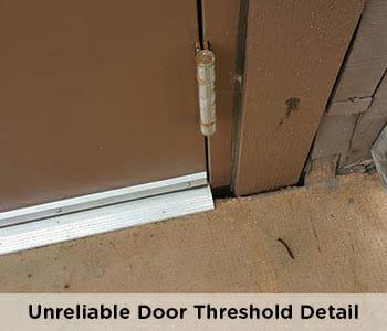 unprofessional and unreliable door detail on vinyl deck
