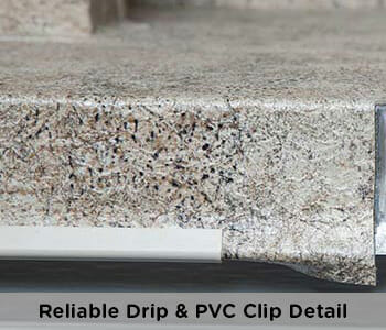 professional, reliable pvc clip drip edge detail on a vinyl deck