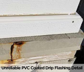 unprofessional failed waterproofing at pvc coated drip flashing edge on vinyl deck