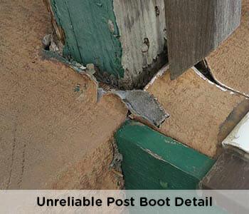 unprofessional, failed waterproofing at post on vinyl deck