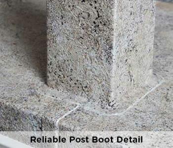 professionally waterproofed post detail on vinyl deck