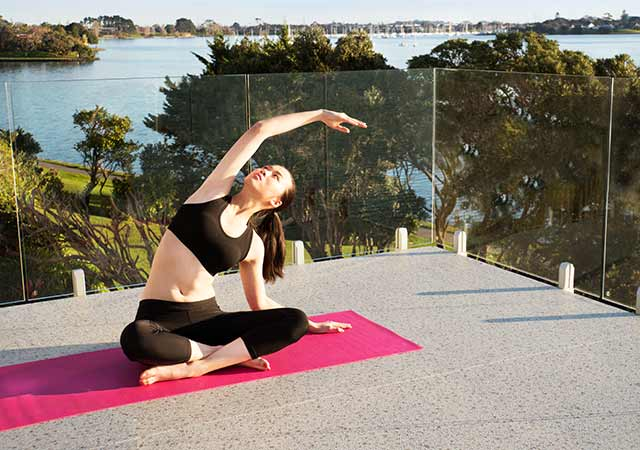 Enjoy outdoor living space with yoga