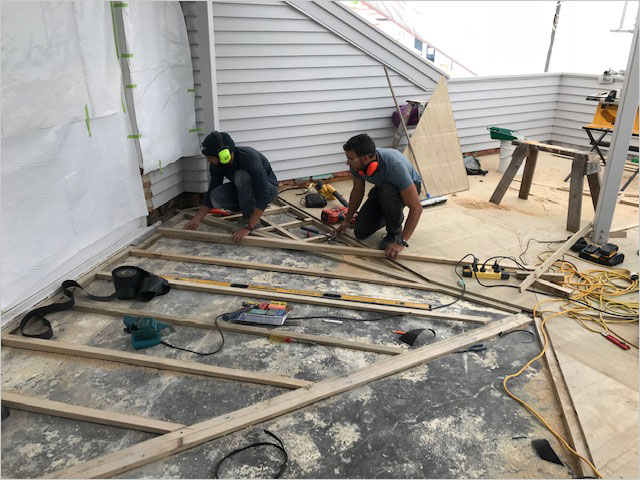 Sleeper system in substrate preparation for water routing on roof deck