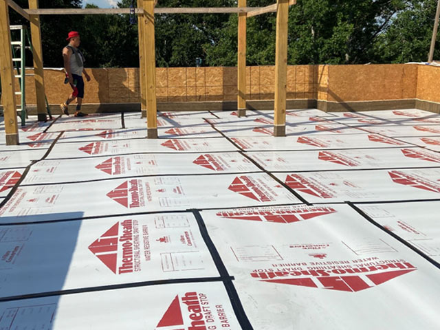 Protected Vinyl Membrane During New Construction