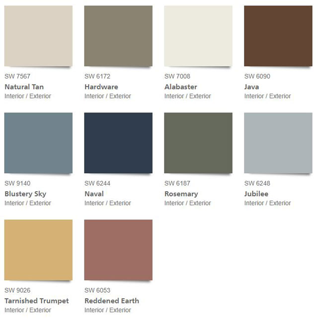 Sherwin Williams 2021 Color Trends - The Encounter Palette