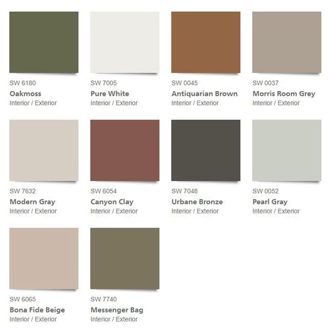 Sherwin Williams 2021 Color Trends - The Sanctuary Palette