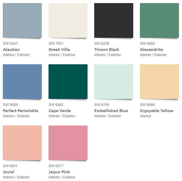 Sherwin Williams 2021 Color Trends - The Tapestry Palette